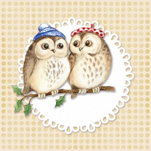 Owls Vintage Card Template