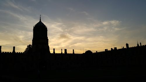 sunset,oxford,tower,silhouette,castle,evening,idyllic