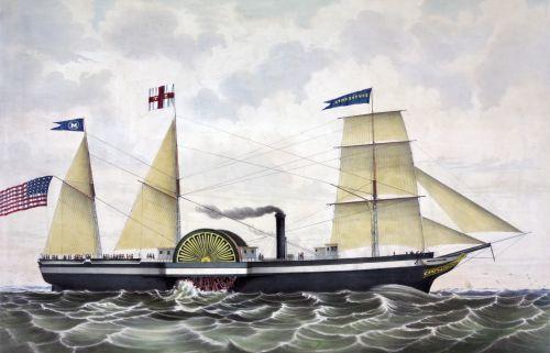 Packet Steamer Sailing Ship