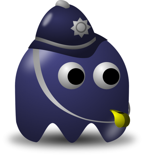 pacman,pac-man,game,computer game,baddie,arcade,police,policeman,free vector graphics