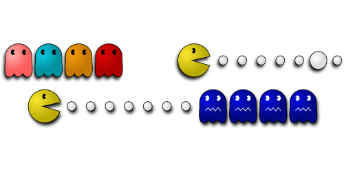 pacman,pac-man,computer game,sprites,free vector graphics