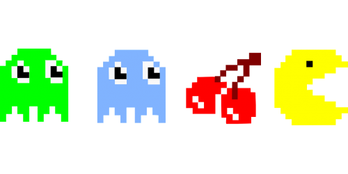 pacman,pac-man,computer game,c64,cherries,cherry,ghost,free vector graphics