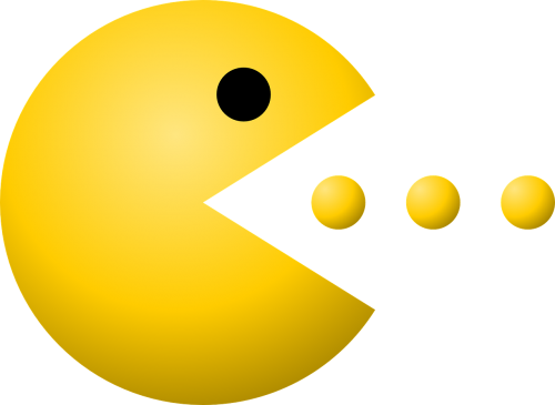 pacman,pac-man,dots,game,yellow,eating,free vector graphics