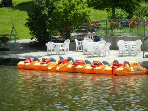 paddle boats coffee house river