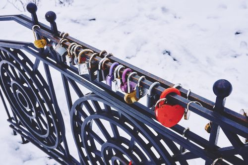 padlocks locked railing