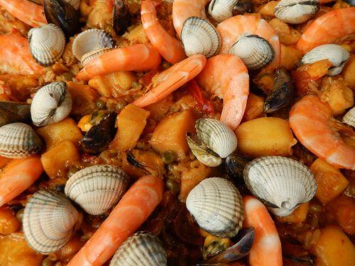 paella shrimp crustaceans
