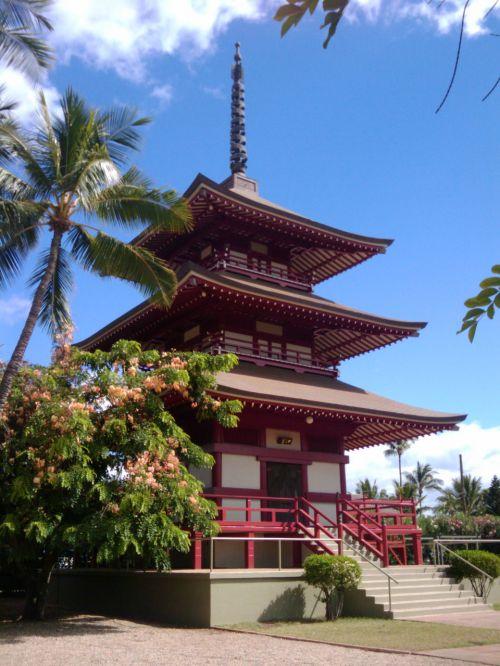 pagoda, Hawaii, maui, budistinis, bokštas, asian, pagoda