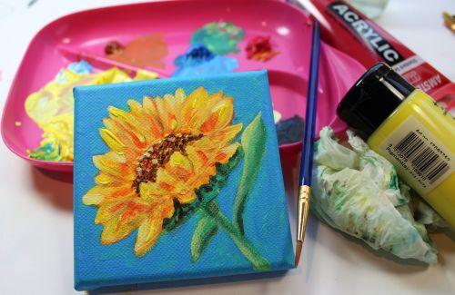 paint canvas sunflower