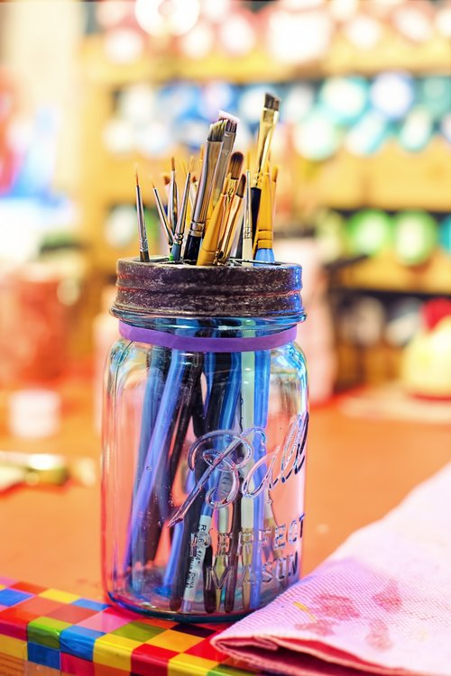 paint brushes  colorful  artist