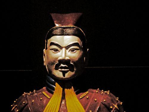 kopija, statula, karys, molis, istorinis, kinai, veidas, dažytos, spalvinga, dažytos senovės molio kariai