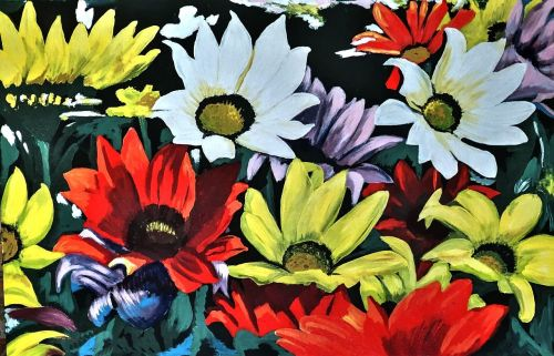 painted daisies acrylic paint bold