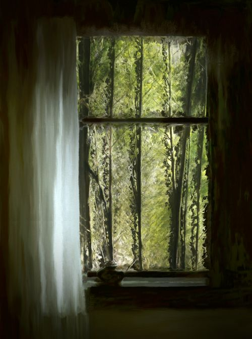Painted Fantasy Forest In Window