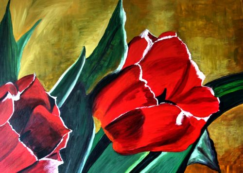 painted flower bold and bright acrylic paint