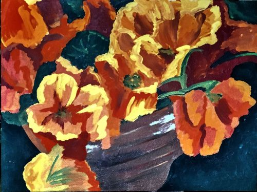 painted flowers brush strokes canvas