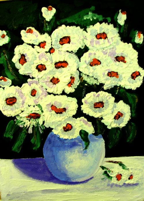 painted flowers acrylic paint canvas