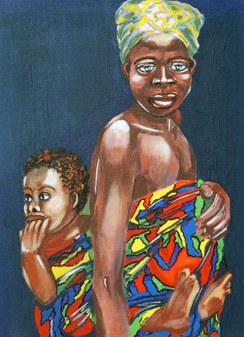 painted mother and child acrylic artistic
