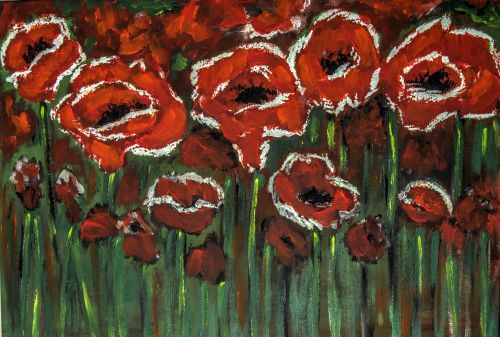 painted poppies bright and bold acrylic paint