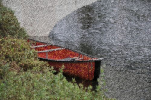 Painted Red Rowboat
