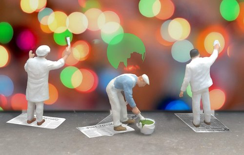 painter  bokeh  miniature figures