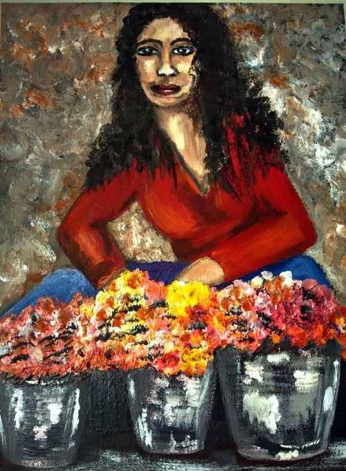 painter flower lady acrylic bold