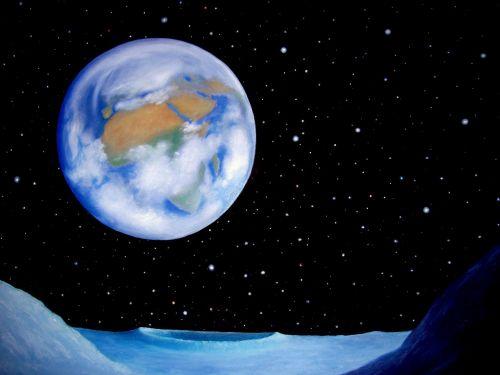 painting oil lunar landscape