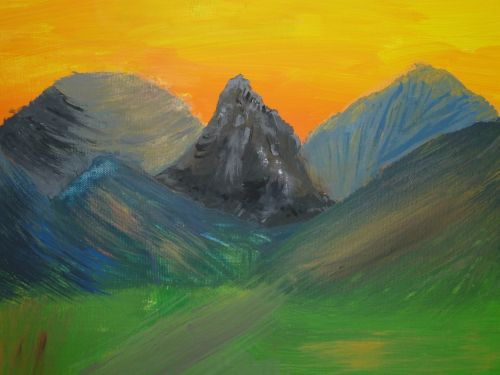 painting landscape mountains