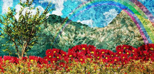 dažymas,utopija,rojus,svajonė,ramus,vaizdingas,kraštovaizdis,lauke,gėlės,pieva