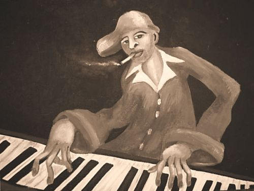 painting sepia piano player