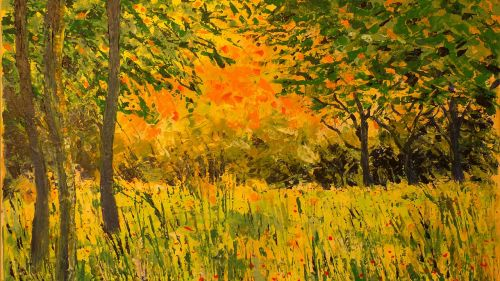 painting landscape back light