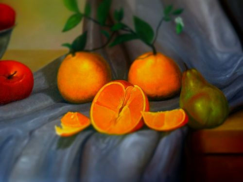 painting realism fruit