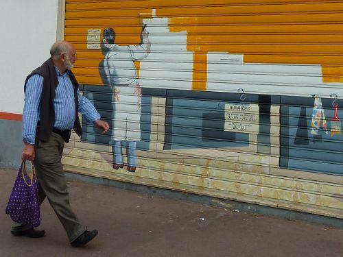 painting business gate façade pedestrian