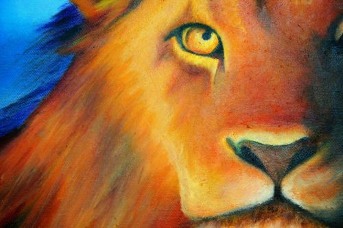 Painting Of Lion In Oils