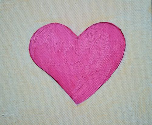 Painting Of Pink Heart In Oils