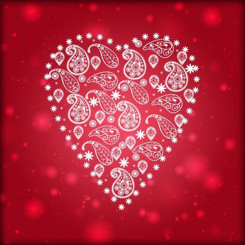 Paisley Pattern White Heart