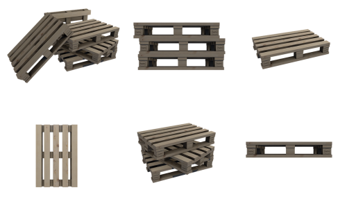 pallets wood isometric
