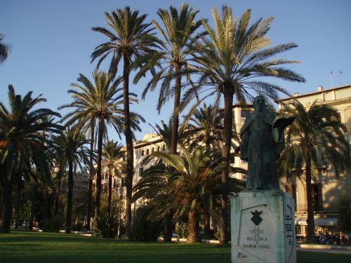palm trees monument palma de mallorca