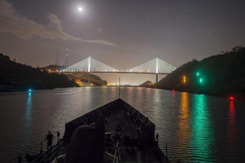 panama canal centennial bridge night