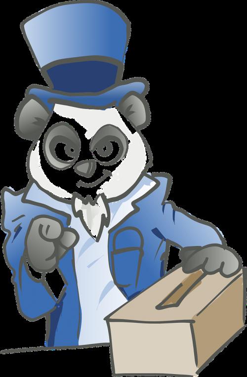 panda blue cute