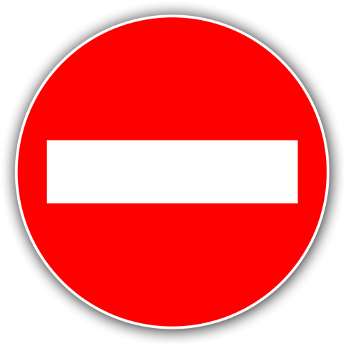 panel no entry red