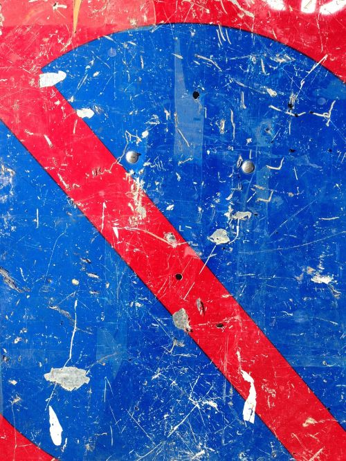 panel parking forbidden red and blue