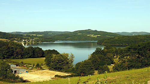 pannecière lake nature landscape