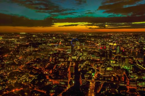 panorama views of the city london