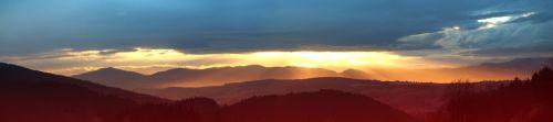 panoramic sunrise mountains