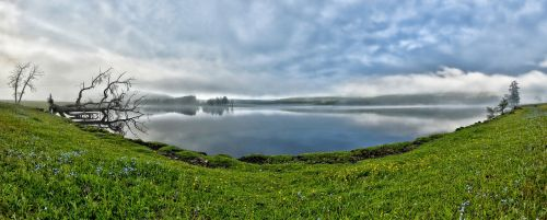 panoramic landscape a small lake morning mist