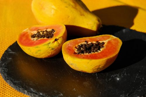 papaya fruit cut in half