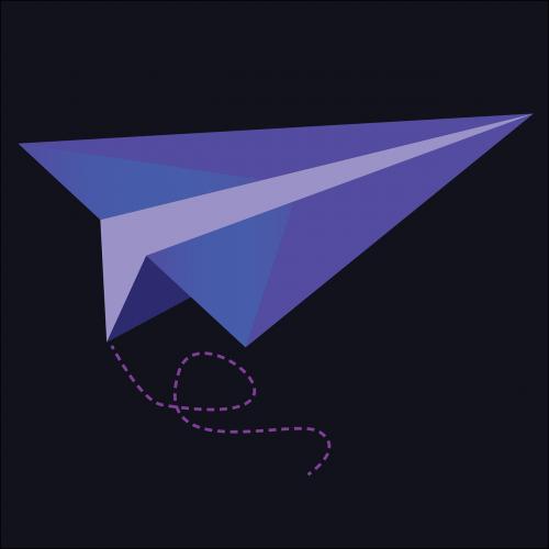 paper airplane purple airplane