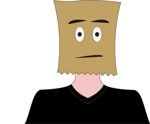 paper bag hidden face