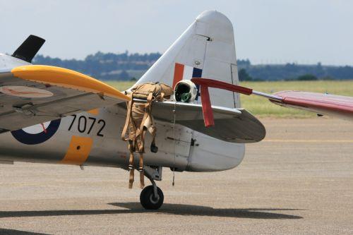 Parachute And Helmet On Tailplane