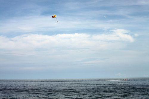 parašiutas, jūra, valtis, parašiutas jūra laivu