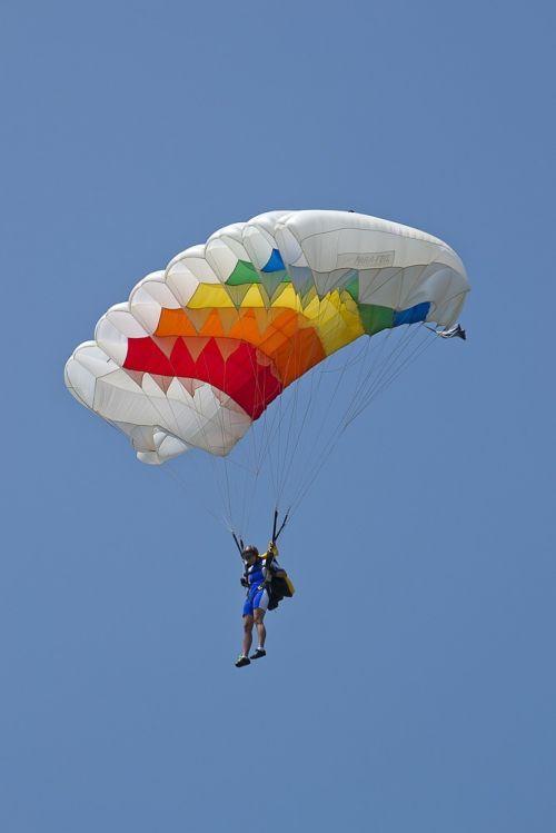 parachutist parachute flies parachute